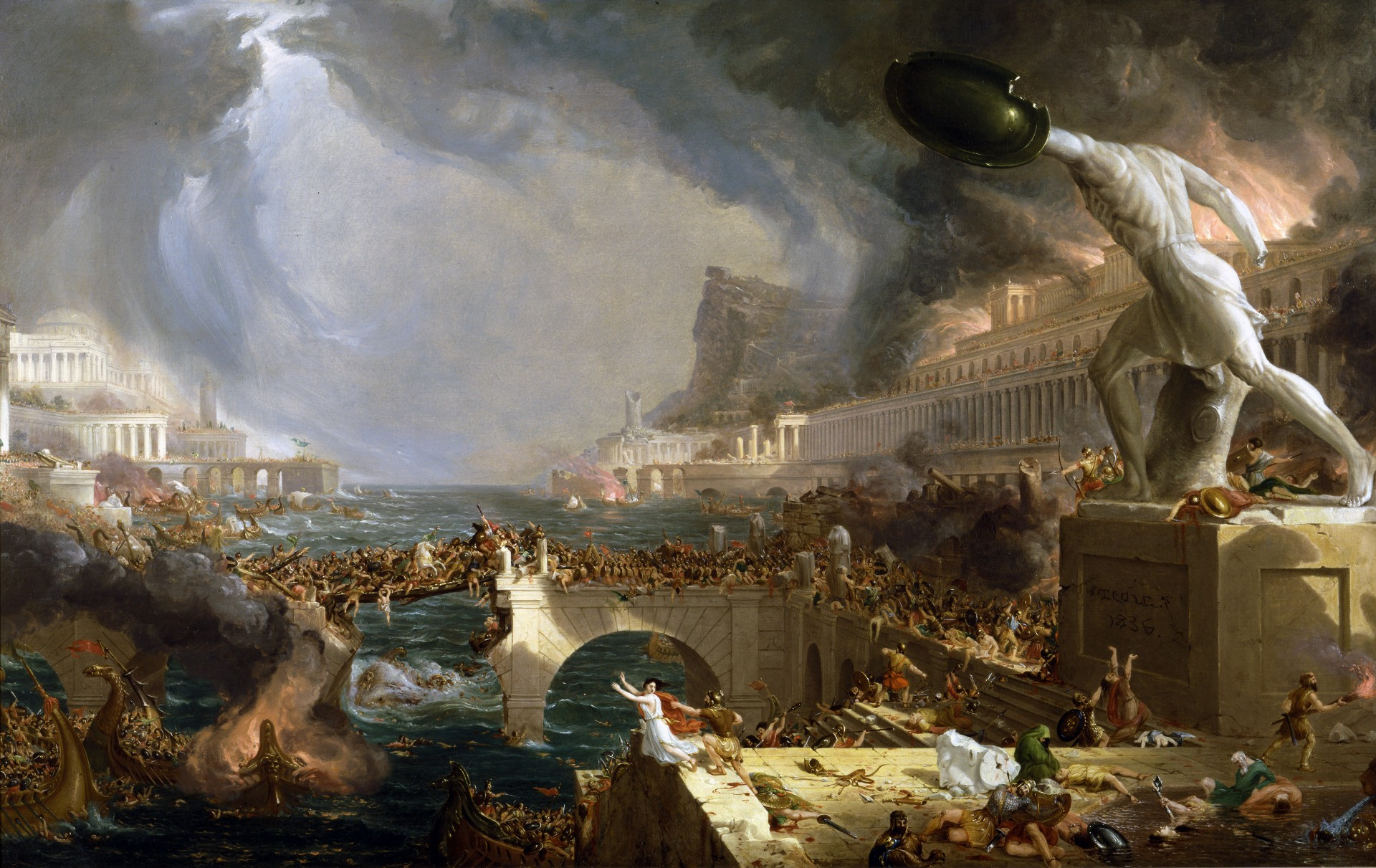 Image result for Destruction, part IV of Thomas Cole's series: The Course of Empire. Photo by VCG Wilson/Corbis via Getty